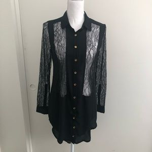 Lush black lace tunic blouse